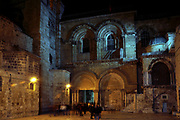 Israel, Jerusalem, Old City, Exterior of the church of the Holy Sepulchre, The main entrance at night