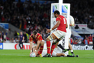 Gareth Davies of Wales celebrates with teammate Taulupe Faletau (8) after he scores his sides late try. Rugby World Cup 2015 pool A match, England v Wales at Twickenham Stadium in London, England  on Saturday 26th September 2015.<br /> pic by  Andrew Orchard, Andrew Orchard sports photography.
