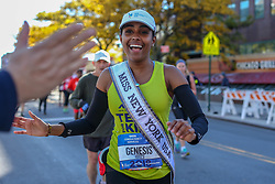 November 4, 2018 - New York, New York, U.S. - Miss New York 2018, GENESIS SUERO, running near the start of the New York City Marathon. (Credit Image: © William Volcov/ZUMA Wire)