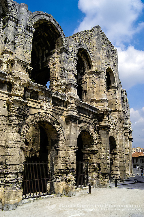 Arles in southern France was in 123 BC taken by the Romans who expanded it into an important city. Arles Amphitheatre dates from 90 AD.