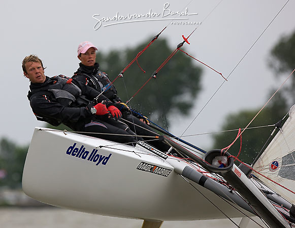 08_004264 © Sander van der Borch. Medemblik - The Netherlands,  May 25th 2008 . Sebbe Godefroid and Carolijn Brouwer sailing just after the finish of the medal race of the Delta Lloyd Regatta 2008.