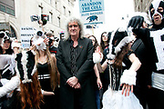Protest against the proposed cull of badgers June 1st 2013 led by a flashmob of dancers dressed with badger heads and black and white costumes, and with Brian May, Queen guitarist .