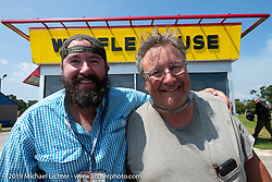 Evan Riggle and Tim McIntyre at a Waffle House during the Cross Country Chase motorcycle endurance run from Sault Sainte Marie, MI to Key West, FL. (for vintage bikes from 1930-1948). Stage-7 covered 249 miles from Macon, GA to Tallahassee, FL USA. Thursday, September 12, 2019. Photography ©2019 Michael Lichter.