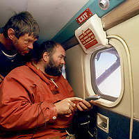 ANTARCTICA.  British polar veterans David Rootes & Jonathan Walton use GPS to map potential bare ice runways in aerial survey of Queen Maud Land.