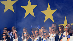 The European Team's wives and girlfriends including Rory McIlroy's wife Erica Stoll (centre) before the Ryder Cup Opening Ceremony at Le Golf National, Saint-Quentin-en-Yvelines, Paris.