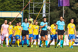 Players of both teams entering the pitch before football match between ZNK Pomurje and FC Nike in 2nd Round of UWCL qualifying 2019/20, on Avgust 10, 2019 in Sportni Park Beltinci, Beltinci, Slovenia. Photo by Blaž Weindorfer / Sportida