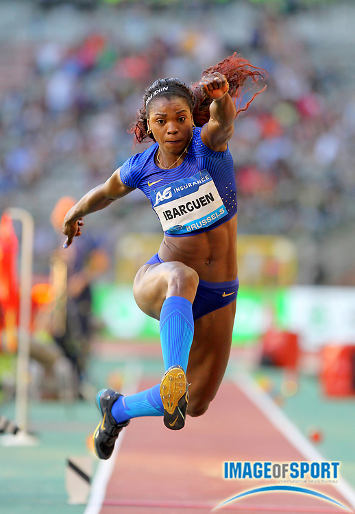 Sep 9, 2016; Brussels, Belgium; Caterine Ibarguen  (COL) wins the women's triple jump at 48-1 1/4 (14.66m) in the 41st Memorial Van Damme at King Baudouin Stadium. Photo by Jiro Mochiuzki