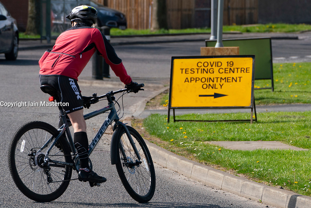 Grangemouth, Scotland, UK. 24 April 2020. Covid-19 drive-in testing centre in Grangemouth. The centre, which tests NHS workers, opened yesterday but has seen very few people arriving for tests. Iain Masterton/Alamy Live News