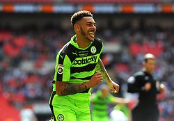 Kaiyne Woolery of Forest Green Rovers celebrates his goal  - Mandatory by-line: Nizaam Jones/JMP - 14/05/2017 - FOOTBALL - Wembley Stadium- London, England - Forest Green Rovers v Tranmere Rovers - Vanarama National League Final