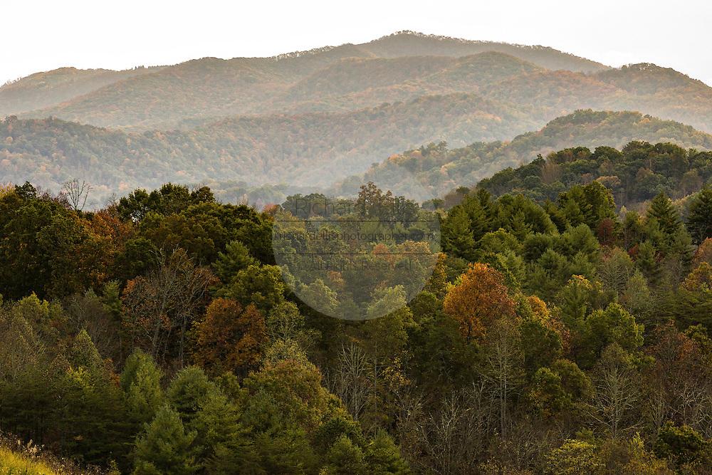 Sunrise in the Blue Ridge mountains near Burnsville, North Carolina.