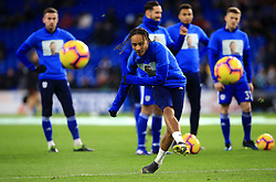 Cardiff City's Bobby Reid warms up ahead of the match whilst wearing a Emiliano Sala commemorative t-shirt during the Premier League match at the Cardiff City Stadium.