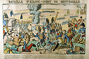 Batle of Aspern-Essling 21-22 May 1809.  French under Napoleon defeated by the Austrians under Archduke Charles.  Jean Lannes, Duke of Montebello, mortally wounded. He died on 30 May. Popular French hand-coloured woodcut.