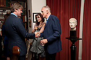 MARK GETTY; HELENA BONHAM CARTER; JAMES FOX, Freud Museum dinner, Maresfield Gardens. 16 June 2011. <br /> <br />  , -DO NOT ARCHIVE-© Copyright Photograph by Dafydd Jones. 248 Clapham Rd. London SW9 0PZ. Tel 0207 820 0771. www.dafjones.com.