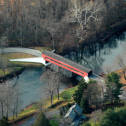 Aerial view of Smith Bridge, Chadds Ford, PA, Covered Bridge, brandywine valley