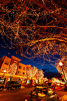 Holiday lights along historic downtown Littleton, Littleton, Colorado USA