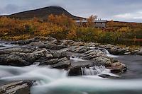 Flowing river outside of Syter hut, Kungsleden trail, Lapland, Sweden