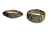 two Roman Bronze rings 2nd century CE