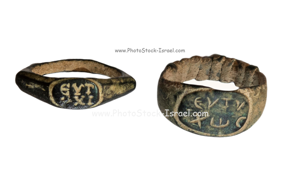 two Roman Bronze rings 2nd century CE