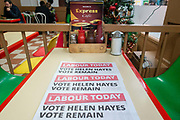 Political newsletters titled Labour Today with the headline Vote Helen Hayes Vote Remain in the Express Cafe in Brixton Village on the 11th December 2019 in South London in the United Kingdom.  Helen Hayes is a British Labour Party politician who has been the Member of Parliament for Dulwich and West Norwood since the May 2015 general election.