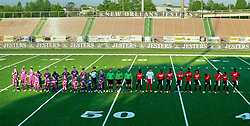 17 May 2014. New Orleans, Louisiana.<br /> Ben and his mates take to the field as ball boys as the New Orleans Jesters prepare to take on the Atlanta Silverbacks on a great night for a game at the Pan Am Stadium. <br /> Charlie Varley/varleypix.com