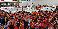 A large contingent of Belgium fans show their support and hold up a banner for Gary Speed. World cup 2014 qualifying match, Group A, Wales v Belgium at the Cardiff city stadium in Cardiff, South Wales on Friday 7th Sept 2012.  pic by  Andrew Orchard, Andrew Orchard sports photography,