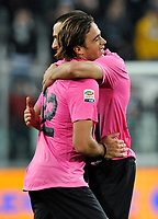 Alessandro Matri e Leonardo Bonucci ( Juventus ) festeggiano a fine partita<br /> Torino 25/10/2011 Juventus Stadium<br /> Serie A 2011/2012 <br /> Football Calcio Juventus Fiorentina<br /> Foto Insidefoto Giorgio Perottino