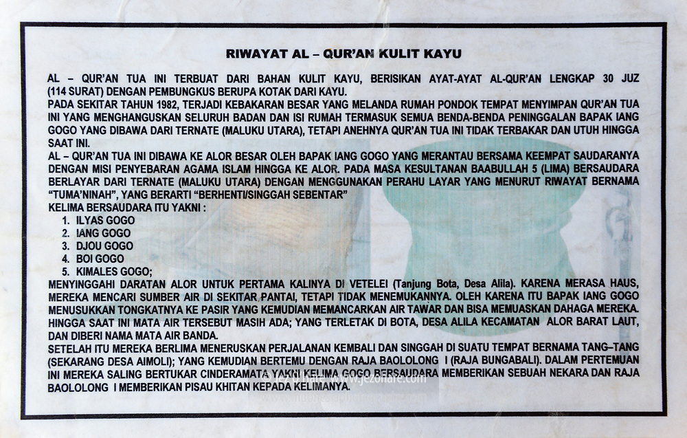 Al Qur'an Tua, Desa Alor Besar, Pulau Alor, Nusa Tenggara Timur, Indonesia.