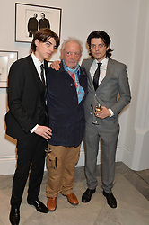 Left to right, SASCHA BAILEY, DAVID BAILEY and FENTON BAILEY at a private view of photographs by David Bailey entitled 'Bailey's Stardust' at the National Portrait Gallery, St.Martin's Place, London on 3rd February 2014.