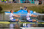 Bled, SLOVENIA. GBR M2X, Bow Matthew WELLS and Marcus BATEMAN, Second  Semifinal A/B 1, 2011 FISA World Rowing Championships, Lake Bled. Thursday  01/09/2011   [Mandatory Credit; Intersport Images]
