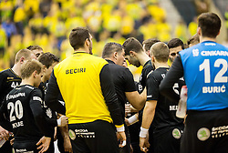 Gregor Cvijic, head coach of RK Gorenje with players during handball match between RK Celje Pivovarna Lasko and RK Gorenje Velenje in Eighth Final Round of Slovenian Cup 2015/16, on December 10, 2015 in Arena Zlatorog, Celje, Slovenia. Photo by Vid Ponikvar / Sportida