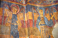 Romanesque frescoes from the Church of Sant Clement de Taull, Vall de Boi, Alta Ribagorca, Spain. Painted around 1123.  National Art Museum of Catalonia, Barcelona. MNAC 15806 .<br /> <br /> If you prefer you can also buy from our ALAMY PHOTO LIBRARY  Collection visit : https://www.alamy.com/portfolio/paul-williams-funkystock/romanesque-art-antiquities.html<br /> Type -     MNAC     - into the LOWER SEARCH WITHIN GALLERY box. Refine search by adding background colour, place, subject etc<br /> <br /> Visit our ROMANESQUE ART PHOTO COLLECTION for more   photos  to download or buy as prints https://funkystock.photoshelter.com/gallery-collection/Medieval-Romanesque-Art-Antiquities-Historic-Sites-Pictures-Images-of/C0000uYGQT94tY_Y
