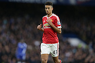 Cameron Borthwick-Jackson of Manchester United looks on. Barclays Premier league match, Chelsea v Manchester Utd at Stamford Bridge in London on Sunday 7th February 2016.<br /> pic by John Patrick Fletcher, Andrew Orchard sports photography.