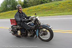 Dan Emerson riding his 1936 Harley-Davidson Knucklehead during Stage 4 of the Motorcycle Cannonball Cross-Country Endurance Run, which on this day ran from Chatanooga to Clarksville, TN., USA. Monday, September 8, 2014.  Photography ©2014 Michael Lichter.
