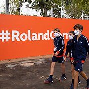 PARIS, FRANCE September 25. Ball boys and girls head to a court at the 2020 French Open Tennis Tournament at Roland Garros on September 25th 2020 in Paris, France. (Photo by Tim Clayton/Corbis via Getty Images)