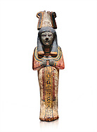 Ancient Egyptian shabtis doll, lwood, New Kingdom, 18th Dynasty, (1538-1040 BC), Deir el Medina. Egyptian Museum, Turin. white background, .<br /> <br /> If you prefer to buy from our ALAMY PHOTO LIBRARY  Collection visit : https://www.alamy.com/portfolio/paul-williams-funkystock/ancient-egyptian-art-artefacts.html  . Type -   Turin   - into the LOWER SEARCH WITHIN GALLERY box. Refine search by adding background colour, subject etc<br /> <br /> Visit our ANCIENT WORLD PHOTO COLLECTIONS for more photos to download or buy as wall art prints https://funkystock.photoshelter.com/gallery-collection/Ancient-World-Art-Antiquities-Historic-Sites-Pictures-Images-of/C00006u26yqSkDOM