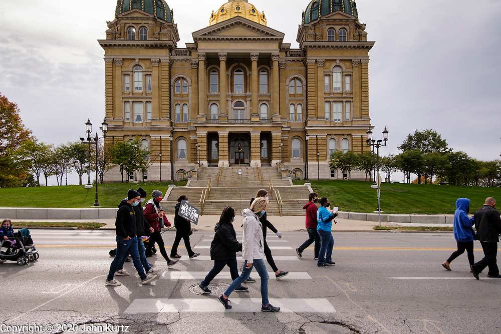 17 OCTOBER 2020 - DES MOINES, IOWA: About 100 people participated in a march and rally at the Iowa State Capitol for racial justice and civil rights. The march was organized by Des Moines' Selma, a civil rights group formed in the wake of the George Floyd killing in Minneapolis.     PHOTO BY JACK KURTZ