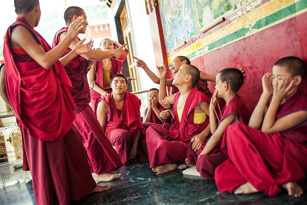 The young Buddhist monks of the Dhakpo <br /> Shedrup Ling monastery at Kais, H.P. India <br /> practice twice every day in a special <br /> form of debating.<br /> <br /> The purpose of these playful discussions is to train the mind in logical thinking and reasoning and prepare for the more complex Bhuddist philosophies that will be a great part of the monk's life in the years to come.