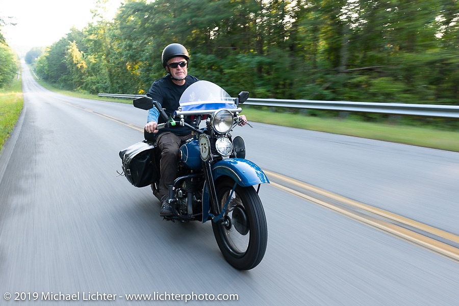 Gary Shorman riding his 1940 Harley-Davidson WL750cc Flathead in the Cross Country Chase motorcycle endurance run from Sault Sainte Marie, MI to Key West, FL. (for vintage bikes from 1930-1948). Stage-6 from Chattanooga, TN to Macon, GA USA covered 258 miles. Wednesday, September 11, 2019. Photography ©2019 Michael Lichter.