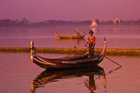 Boats on Taungthaman Lake, next to the U-Bein Bridge, Amarapura (near Mandalay), Myanmar (Burma)