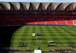Official procedure practice at stadium prior to the 2010 FIFA World Cup South Africa Group C Third Round match between Slovenia and England on June 23, 2010 at Nelson Mandela Bay Stadium, Port Elizabeth, South Africa.  (Photo by Vid Ponikvar / Sportida)