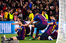 BARCELONA, May 2, 2019  Players of FC Barcelona celebrate the third goal of their team scored by Lionel Messi (L front) during the UEFA Champions League semifinal first leg soccer match between FC Barcelona and Liverpool in Barcelona, Spain, on May 1, 2019. Barcelona won 3-0. (Credit Image: © Joan Gosa/Xinhua via ZUMA Wire)
