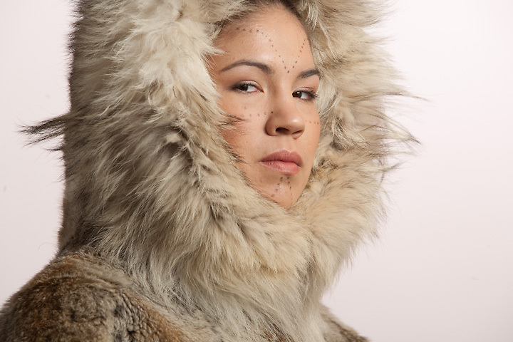 ANHC athlete, Elizabeth Rexford, in traditional Iñupiat wolf parka.