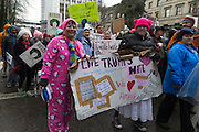 Tens of thousands of people turned out in steady rain for the  Women's March on Portland on Saturday, Jan. 21, 2016 in downtown Portland, Ore. The march was held in support of a national women's march held in Washington, D.C.  Photo by Randy L. Rasmussen, © 2017.