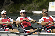 2005 FISA World Cup, Rotsee, Lucerne, SWITZERLAND, 08.07.2005 CAN M4-, Bow Cameron Baerg, Kevin Light, Ben Rutledge and Kyle Hamilton.  move away from the start  on the opening day of the final round of the 2005 FISA Rowing World Cup..© Peter Spurrier.  email images@intersport-images..[Mandatory Credit Peter Spurrier/ Intersport Images] Rowing Course, Lake Rottsee, Lucerne, SWITZERLAND.