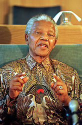 May 9, 1996 - Cape Town, South Africa - NELSON MANDELA speaks at a presser upon the resignation of the NP.  (Credit Image: © Sasa Kralj/JiwaFoto/ZUMAPRESS.com)