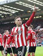 Billy Sharp of Sheffield Utd celebrates scoring the first goal during the Premier League match at Bramall Lane, Sheffield. Picture date: 7th March 2020. Picture credit should read: Alistair Langham/Sportimage