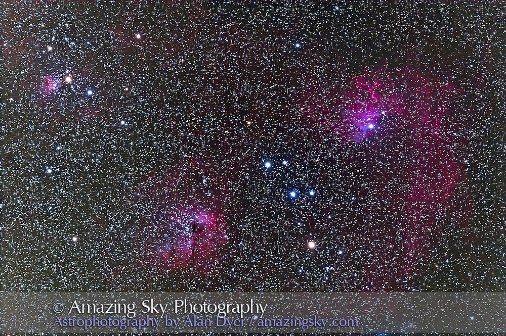 Nebulosity in Auriga, including IC 405 Flaming Star Nebula (right), IC 410 (centre) and IC 417 (left). Taken Oct 15, 2007 with 77mm Borg refractor at f/4.3 and with Canon 20Da camera at ISO 400 for stack of 4 x 10 minute exposures. Used Skywatcher HEQ5 mount and ST402 guider.