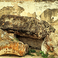Central America, Guatemala, Antigua. Tumbled masonry and arches, damaged by earthquakes, in Antigua.