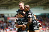 Hull FC centre Carlos Tuimavave (3) scores a try and celebrates during the Challenge Cup 2017 semi final match between Hull RFC and Leeds Rhinos at the Keepmoat Stadium, Doncaster, England on 29 July 2017. Photo by Simon Davies.