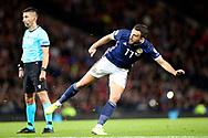 Scotland midfielder Robert Snodgrass (17) (West Ham) takes the free kick during the UEFA European 2020 Qualifier match between Scotland and Belgium at Hampden Park, Glasgow, United Kingdom on 9 September 2019.